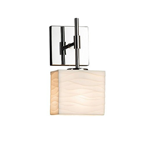 Justice Design Group Rectangular Sconce (Justice Design Group Lighting PNA-8417-55-WAVE-CROM-LED1-700 Union Ada 1 Rectangle Shade LED Light Wall Sconce, Polished Chrome)