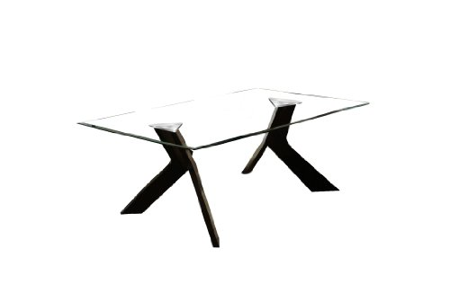 Furniture of America Humphry Dining Table with 10mm Tempered Glass Top, Espresso Finish (Table Wooden Top Dining Glass)