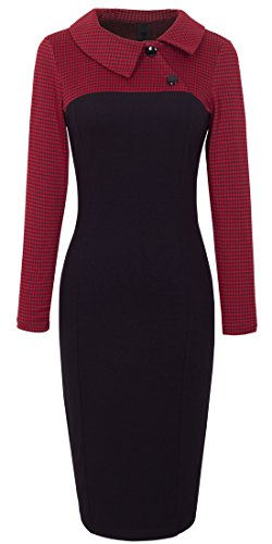 - HOMEYEE Women's Retro Chic Colorblock Lapel Career Tunic Dress B238 (L, Red)