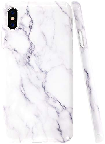 iPhone Xs Max Case Marble, A-Focus Smooth White Grey Marble Rock Stone IMD Design Shock Proof Protective Slim Flexible Case for iPhone Xs Max (2018 6.5 inch) -Glossy Gray 2