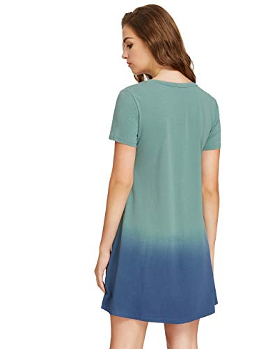 ca1b714e6 Romwe Women's Tunic Swing T-Shirt Dress Short Sleeve Tie Dye Ombre Dress