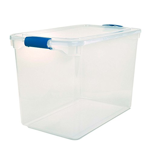 Homz Plastic Storage, Modular Stackable Storage Bins with Blue Latching Handles,112 Quart, Clear, Stackable, 2-Pack ()