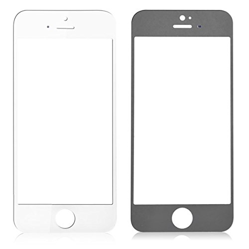 GG MALL S+ Grade Front Outer Glass Lens for iPhone SE/5S/5C/5 Screen Repair Replacement Parts, Ultra Clean + Halo (LCD Digitizer Not Included, White)