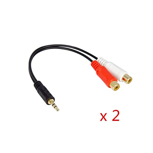 Elanx 3.5mm Male to 2RCA Female Jack Stereo Audio Y Adapter Cable, 24K Gold Plated for HDTV, XBOX 360, CD/DVD Player, Speakers, Smartphones, MP3, DPA, Tablets, Amazon Echo, (2 Pack)