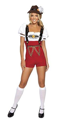 Ocktoberfest 4pc Women's Beer Bar Maid RED Lederhosen Costume (S/M) (Beer Maid Costumes)