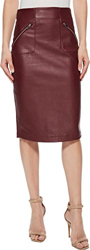 Romeo & Juliet Couture Women's Faux Leather Skirt w/Side Zip Pocket Detail Wine Small (Side Zip Leather Skirt)