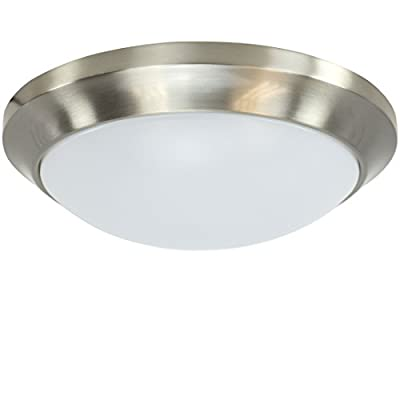 "LED Round Flush Mount Ceiling Light - 12"" - 34W - 1350 Lumens - 120V - ETL Listed - Dimmable - Satin Nickel Finish - CE-12-SN"
