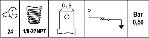0,4 bis 0,6 bar HELLA 6ZL 003 259-381 /Öldruckschalter Gewindema/ß 1//8-27-NPT