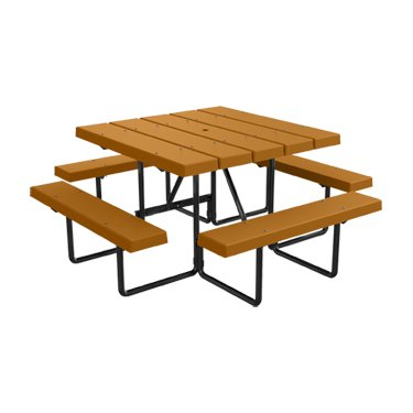 4' Square BarcoBoard Plastic Picnic Table - Cedar - Seats 8