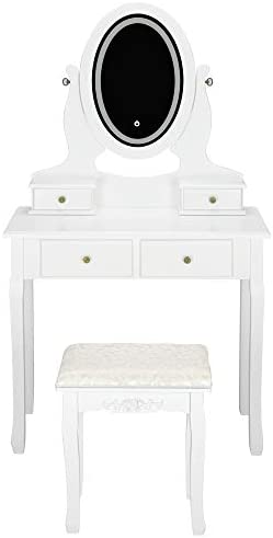 Vanity Set with Moving Mirror Cushioned Stool Dressing Table Vanity Makeup Table, 2 Sliding Drawers,5 Storage Shelves, Jewelry Armoire Makeup Organizer Vanity Desk White
