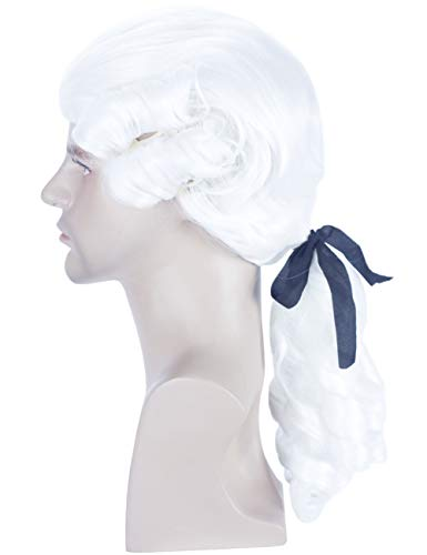 Angelaicos Unisex Colonial Wig Long Layered Judge Cosplay Halloween Costume Wigs (White)]()