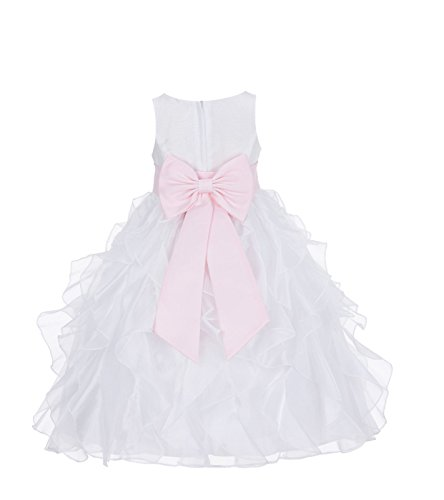 ekidsbridal Ivory Ruffled Organza Formal Flower Girl Dress Special Occasion Dresses 168T 6 -
