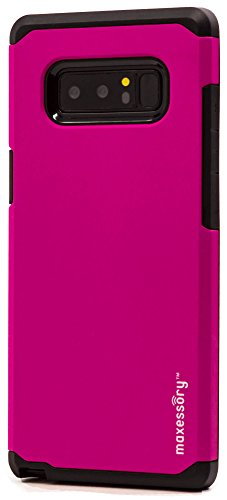 Galaxy Note 8 Case, Maxessory Hot Pink Globetrotter Heavy-Duty Protective Hybrid Cover w/Durable Shock-Absorbing Full-Body Protective Tough Hard Shell ()