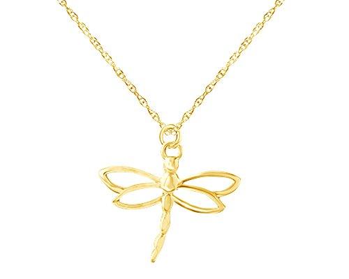 Wishrocks 14K Gold Over Sterling Silver Dragonfly Charm Pendant Necklace