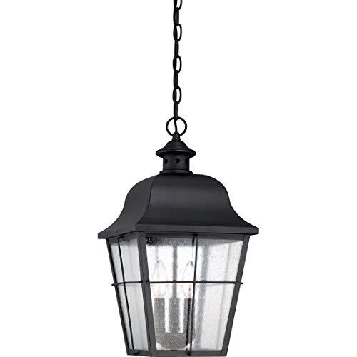 Quoizel MHE1910K Millhouse Seedy Glass Outdoor Pendant Ceiling Lighting, 3-Light, 180 Watts, Mystic Black (19