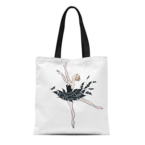 (Semtomn Cotton Canvas Tote Bag the Portrait of Ballerina in Fantasy Dress Bats Ballet Reusable Shoulder Grocery Shopping Bags Handbag Printed)