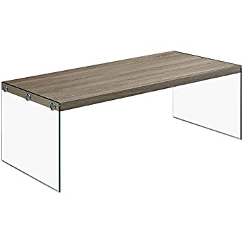 """Monarch specialties  I 3054, Coffee Table, Tempered Glass, Dark Taupe, 44""""L"""
