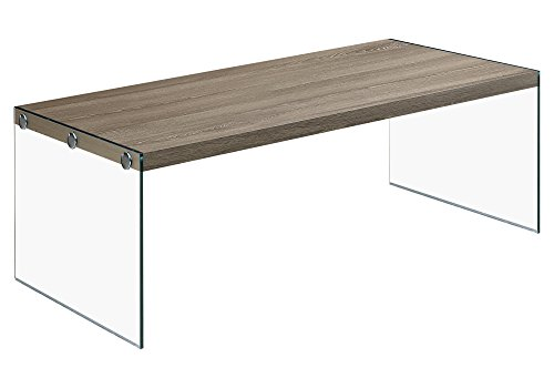- Monarch specialties  I 3054, Coffee Table, Tempered Glass, Dark Taupe, 44