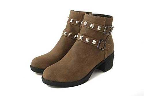 Rivets Carolbar Women's Heel Boots Mid Biker Brown Retro 8Wpqz4wWI