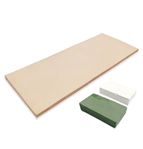 Compound Stone - Leather Honing Strop 3 Inch by 8 Inch with 2oz. Green White Compound