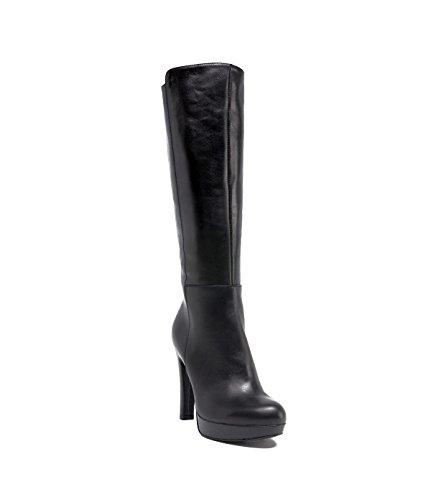 PoiLei Plateau Langschaft-Stiefel Aurelia Damen Leder-Stiefel Italienisch schwarz