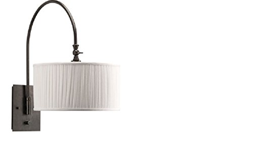 Clayton 1 Light (Progress Lighting P2849-84 1-Light Wall Bracket with White linen fabric drum shades in a soft side pleat and Adjustable Swing Arm, Espresso)