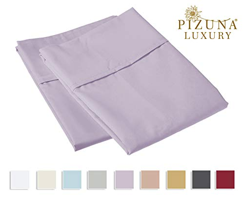 Pizuna 800 Thread Count Cotton King Pillowcases Lavender, 100% Long Staple Cotton Smooth Sateen Pillowcase, Thickly Woven Set of 2 Pillow Covers (Lilac King Size 100% Cotton Pillow Cases) (Standard Lilac)