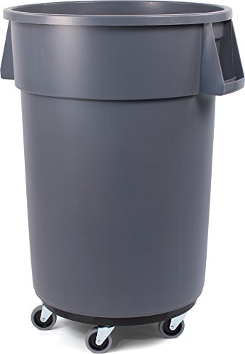 (Carlisle 34114423 Bronco Round Waste Container & Dolly Combo (Lid Sold Separately), 44 Gallon, Gray)