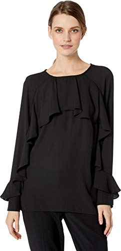 - ECI New York Women's Flutter Front and Sleeve Chiffon top, Black, 10