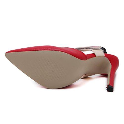 Boca L Moda altos mujer Rojo Nueva Zapatos de de bomba Punta Pelea degradado Color YC color Damas Mujeres Tacones baja rxWUn01r