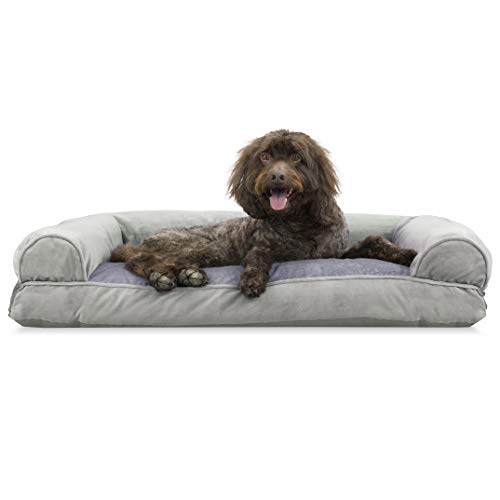 Furhaven Pet Dog Bed - Faux Fur & Velvet Pillow Cushion Traditional Sofa-Style Living Room Couch Pet Bed w/ Removable Cover for Dogs & Cats, Smoke Gray, Large