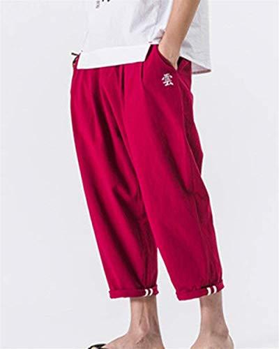 Autunno Larghi Tinta Ricamati Rot Di Unita Color Uomo Bloomers Primaverile Lino Pantaloni Casual Vintage Da pBxqw55I