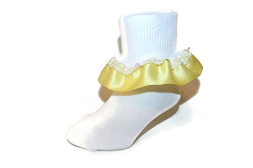 Girls Ruffle Ankle Socks with Satin & Lace in Assorted Colors (3-4.5 Baby, Yellow)