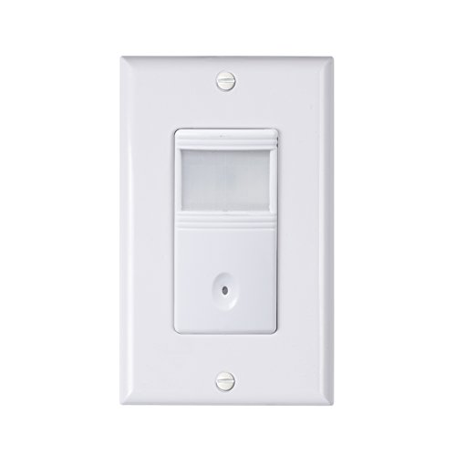 Century In-Wall Motion Sensor Light Switch, PIR Occupancy Sensor, Single-Pole use, Neutral Wire Required, White