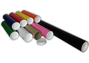 150 Black Royal Mail A2 (450mm x 50mm) Cardboard Postal Tubes + End Caps ODL Packaging