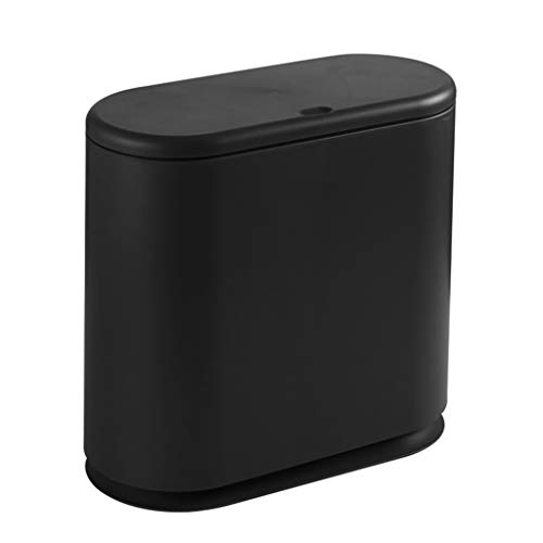 (Trash Can Dustbin Nordic Simple Thick Plastic with Press Lid Bathroom Garbage Can Kitchen Household Living Room Office Waste Bin Sortable Card Slot (Color : Black))