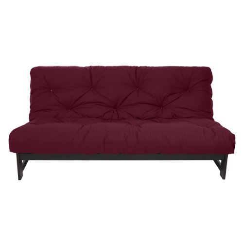 Mozaic Full Size 8-Inch Cotton Twill Gel Dual Memory Foam Futon Mattress, Burgundy (Cotton Twill Futon)