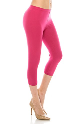 ALWAYS Women Basic Capri Leggings - Solid Buttery Premium Soft Stretch Yoga Workout Fitness Pants Fuchsia Plus