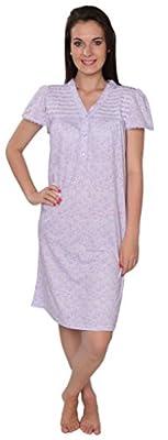Women's Cotton Blend Floral Print Short Sleeve Knit Nightgown