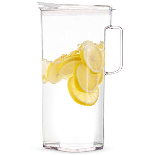 Komax Clear Large Tritan Pitcher with Lid | 77 Oz - 2.4 Quart (Full Capacity Jug) | Great Carafe for Water, Juice, Ice Tea, Lemonade, Ice Coffee | Airtight, BPA Free, Square Shape Water Pitcher