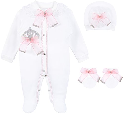 Lilax Baby Girl Jewels Crown Layette 3 Piece Gift Set 3-6 Months (New Designer Baby Clothing)