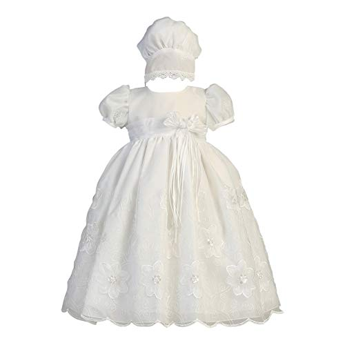 Lito Baby Girls White Embroidered Organza Gown Bonnet Baptism Set 0-3M