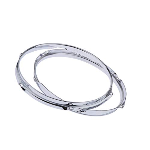 kesoto 2 Pieces 12inch 6 Lug Batter Hoops 2.5mm for Snare Tom Drum Replacement Part DIY(Silver) (Tom Mount 6 Lug)