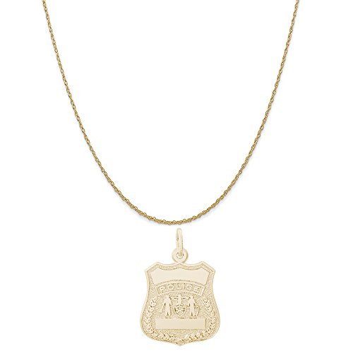 Authentic Police Uniform (Rembrandt Charms 14K Yellow Gold Police Badge Charm on a 14K Yellow Gold Rope Chain Necklace, 18