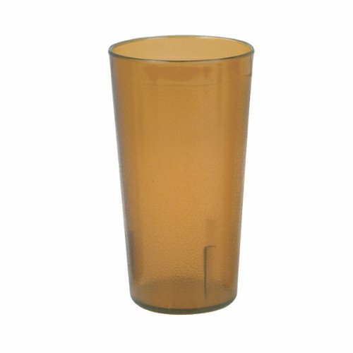 NEW, 20 oz. (Ounce) Restaurant Tumbler Beverage Cup, Stackable Cups, Break-Resistant Commmerical Plastic, Set of 6 - Amber