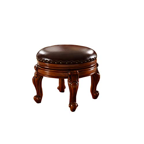 YQ WHJB Leather Footstool,Ottoman Rotating,Sofa Stool Living Room Solid Wood Dressing Stool Dining Chair Children's Chair-a 36x33cm(14x13inch)