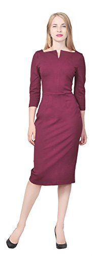 - Marycrafts Women's Work Office Business Square Neck Sheath Midi Dress 4 Burgundy