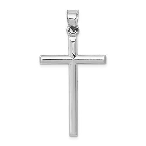 Jewel Tie 14K White Gold Hollow Cross Pendant - (1.5 in x 0.79 in) ()