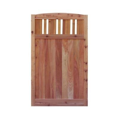 Signature Development 3.5 ft. H W x 6 ft. H H Western Red Cedar Arch Top Vertical Lattice Fence Gate (Lattice Gate)