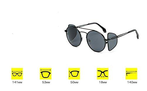 black estilo LSHGYJ gafas lentes GLSYJ Gold de frame gafas Moda sol europeo y de sheet cuatro gafas americano gray sol tendencia de personalidad sol de YBYqrPn